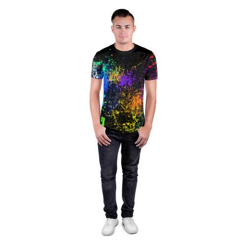 Мужская футболка 3D спортивная Брызги красок Фото 01