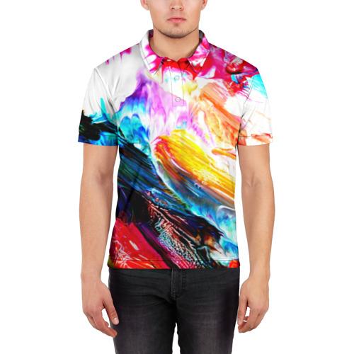 Мужская рубашка поло 3D  Фото 03, Абстракция красок