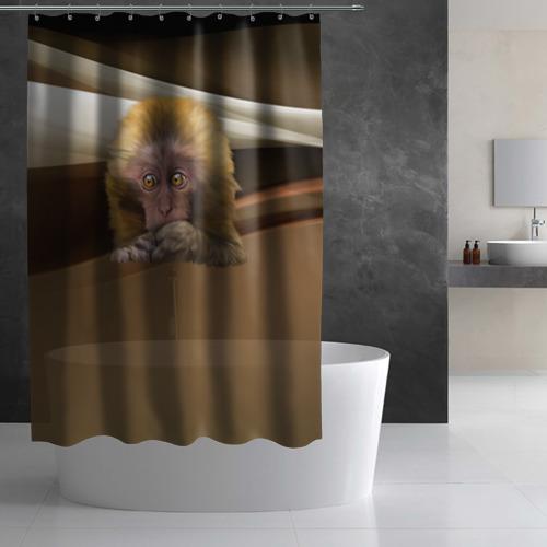 Штора 3D для ванной  Фото 02, Мартышка