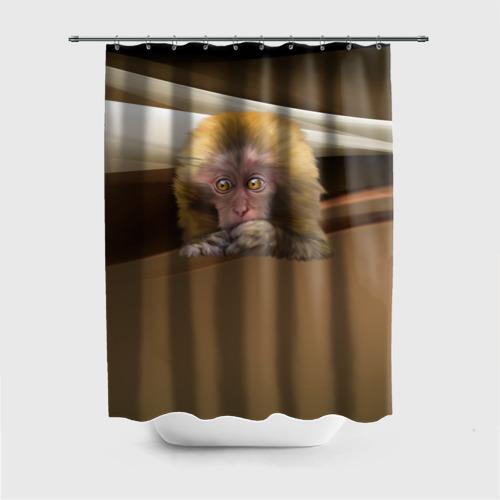 Штора 3D для ванной  Фото 01, Мартышка