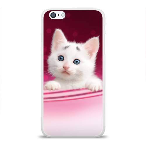 Чехол для Apple iPhone 6Plus/6SPlus силиконовый глянцевый  Фото 01, Белый котёнок