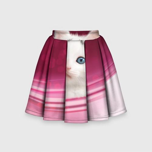 Детская юбка-солнце 3D Белый котёнок