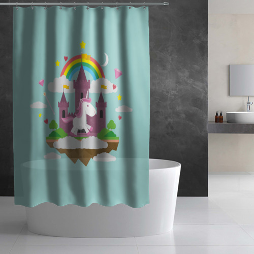 Штора 3D для ванной  Фото 03, Единорог