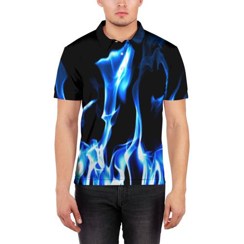 Мужская рубашка поло 3D Огонь Фото 01