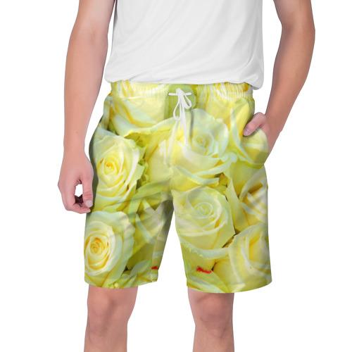 Мужские шорты 3D  Фото 01, Белые розы