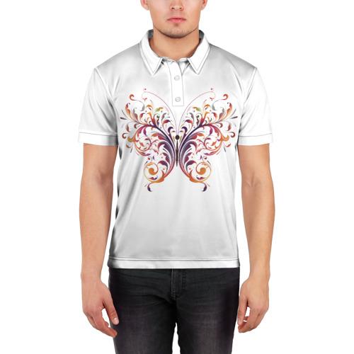 Мужская рубашка поло 3D  Фото 03, Узор бабочка