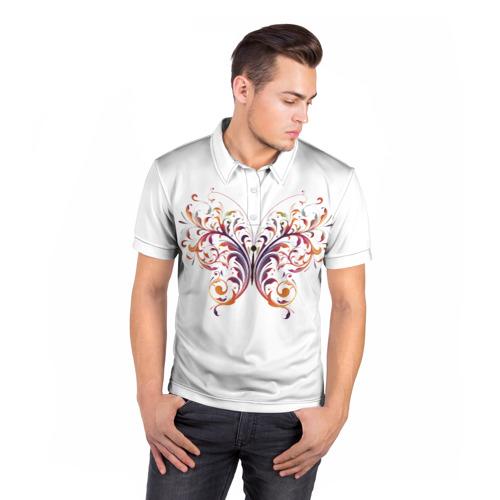 Мужская рубашка поло 3D  Фото 05, Узор бабочка
