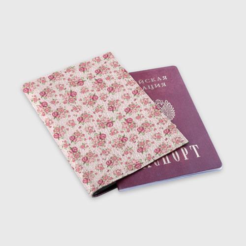Обложка для паспорта матовая кожа Fashion sweet flower Фото 01
