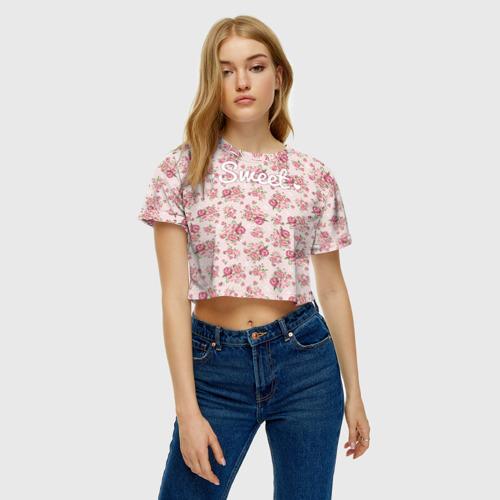 Женская футболка 3D укороченная  Фото 04, Fashion sweet flower 2