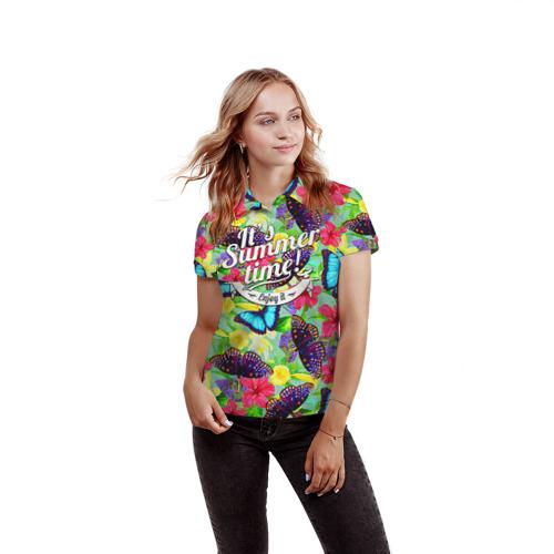 Женская рубашка поло 3D Summer Butterflies 2 Фото 01