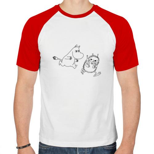 Мужская футболка реглан  Фото 01, Муми-Тролль бежит за Стинки