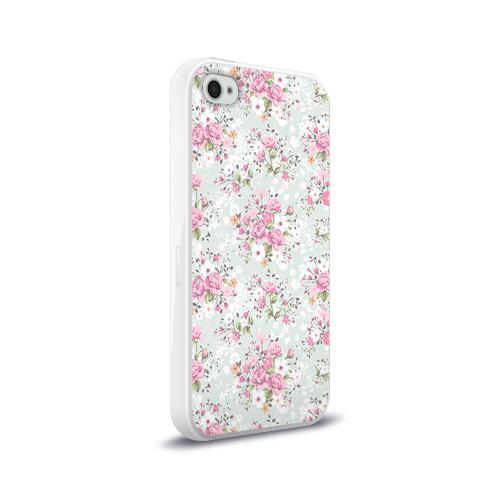 Чехол для Apple iPhone 4/4S силиконовый глянцевый  Фото 02, Flower pattern
