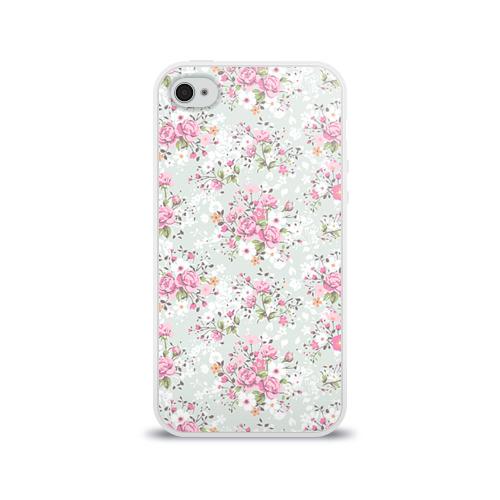 Чехол для Apple iPhone 4/4S силиконовый глянцевый  Фото 01, Flower pattern