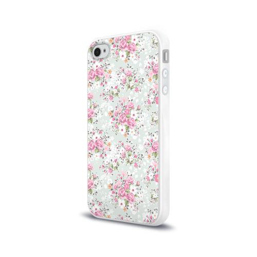 Чехол для Apple iPhone 4/4S силиконовый глянцевый  Фото 03, Flower pattern