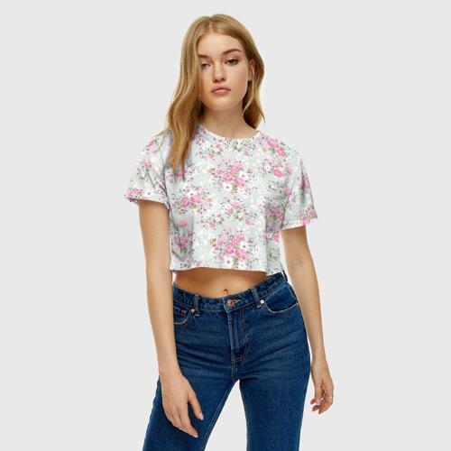 Женская футболка 3D укороченная  Фото 04, Flower pattern