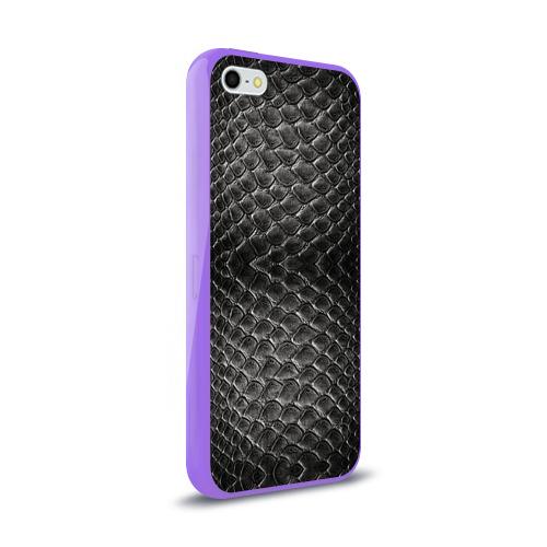 Чехол для iPhone 5/5S глянцевый Черная кожа Фото 01