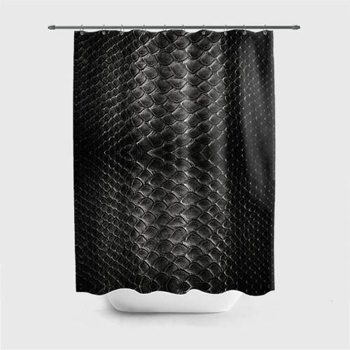 Штора 3D для ванной Черная кожа Фото 01