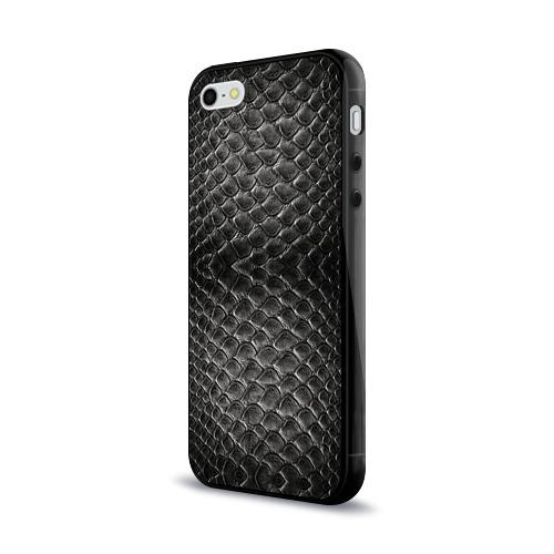 Чехол для Apple iPhone 5/5S силиконовый глянцевый Черная кожа Фото 01