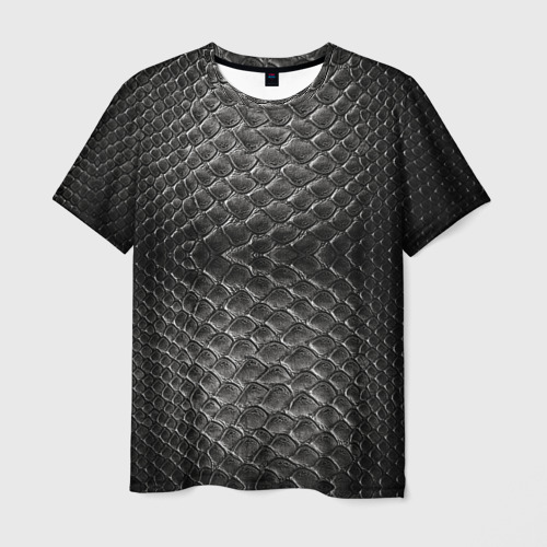 Мужская футболка 3D Черная кожа