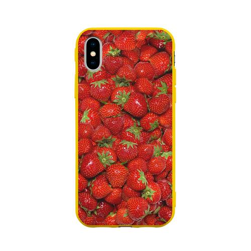 Чехол для Apple iPhone X силиконовый матовый Клубнички Фото 01