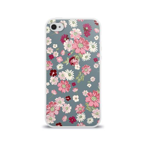 Чехол для Apple iPhone 4/4S силиконовый глянцевый  Фото 01, Цветочки