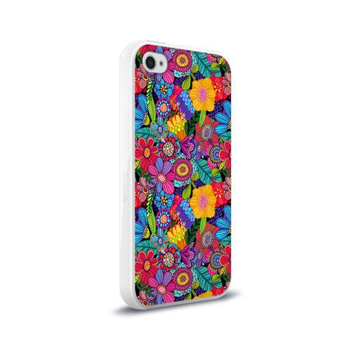 Чехол для Apple iPhone 4/4S силиконовый глянцевый  Фото 02, Яркие цветы