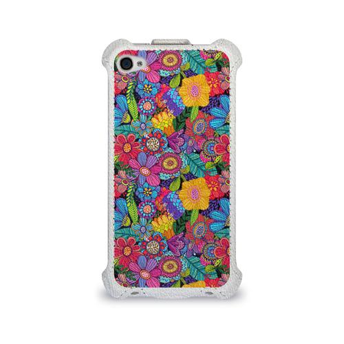 Чехол для Apple iPhone 4/4S flip  Фото 01, Яркие цветы