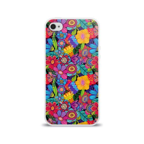 Чехол для Apple iPhone 4/4S силиконовый глянцевый  Фото 01, Яркие цветы
