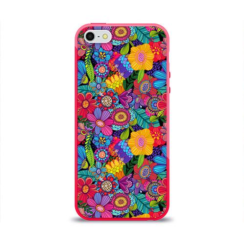 Чехол для Apple iPhone 5/5S силиконовый глянцевый Яркие цветы Фото 01