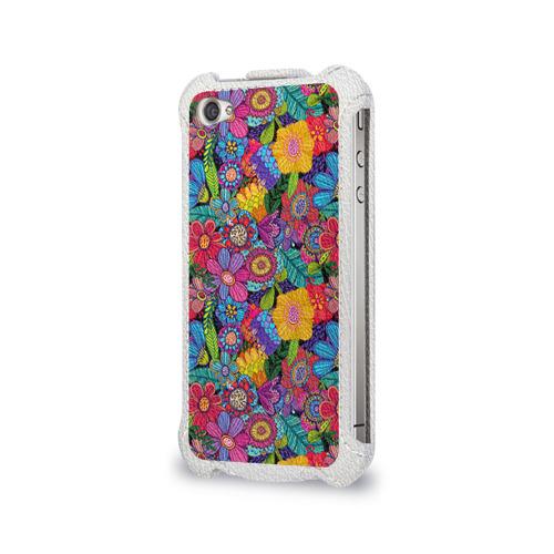 Чехол для Apple iPhone 4/4S flip  Фото 03, Яркие цветы