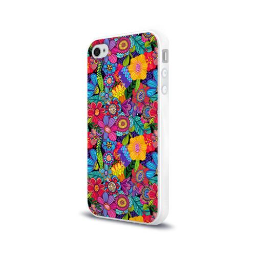 Чехол для Apple iPhone 4/4S силиконовый глянцевый  Фото 03, Яркие цветы