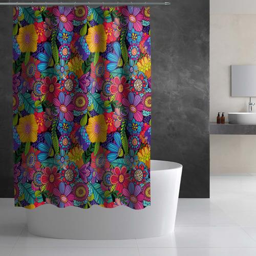 Штора 3D для ванной Яркие цветы Фото 01