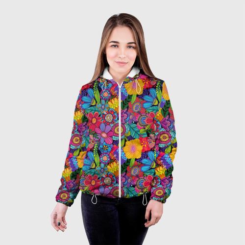 Женская куртка 3D Яркие цветы Фото 01