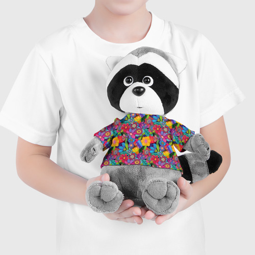 Енотик в футболке 3D Яркие цветы Фото 01