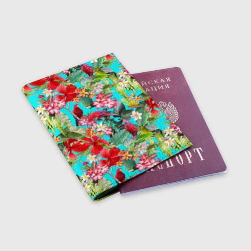 Обложка для паспорта матовая кожа Тропический мир Фото 01