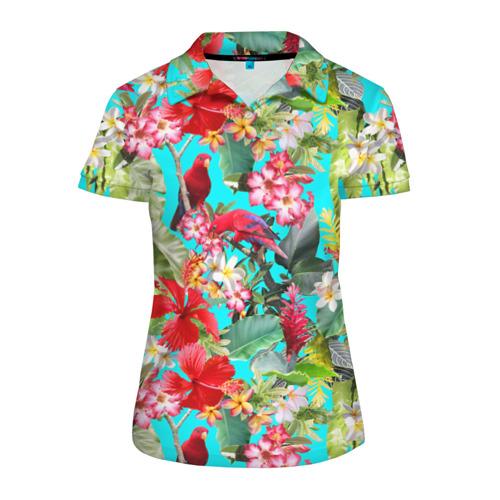 Женская рубашка поло 3D Тропический мир Фото 01