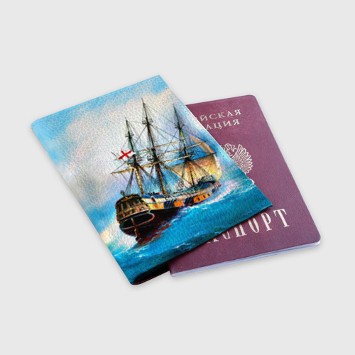 Обложка для паспорта матовая кожа Корабль Фото 01