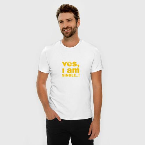 Мужская футболка премиум  Фото 03, Yes, I am single 2