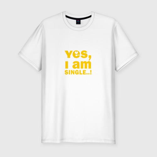 Мужская футболка премиум  Фото 01, Yes, I am single 2