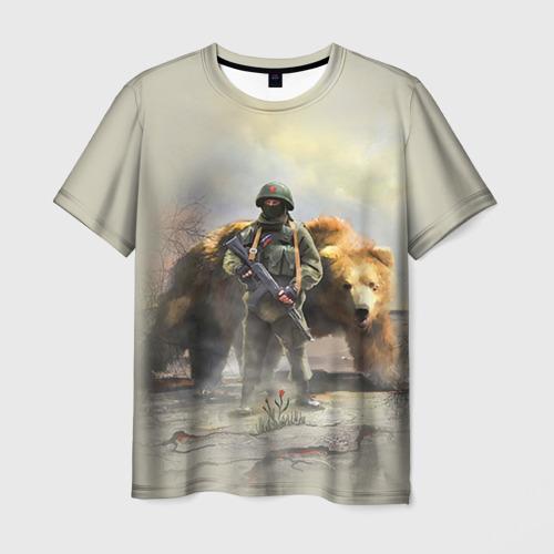 Мужская футболка 3D Русский медведь и солдат