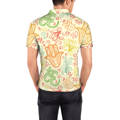 Мужская рубашка поло 3D  Фото 04, Цветочные узоры
