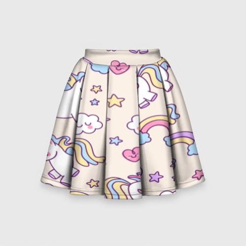 Детская юбка-солнце 3D Радужные Единорожки