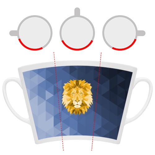Кружка Латте  Фото 06, Полигональный Лев