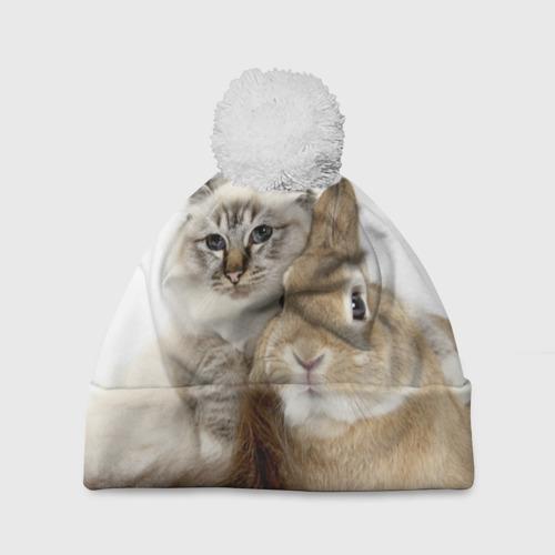 Шапка 3D c помпоном  Фото 01, Кот и кролик