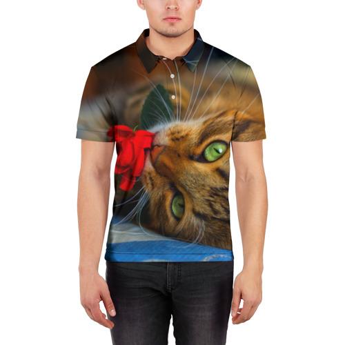 Мужская рубашка поло 3D  Фото 03, Кошечка