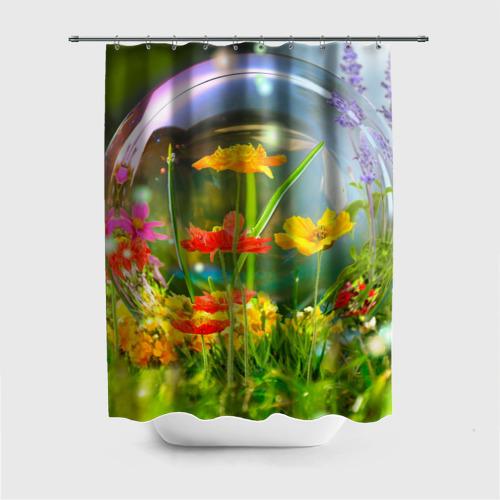 Штора 3D для ванной Цветы и мыльный пузырь Фото 01