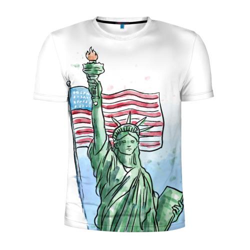 Мужская футболка 3D спортивная  Фото 01, Статуя свободы