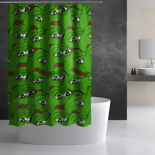 Штора 3D для ванной  Фото 03, Sad frogs