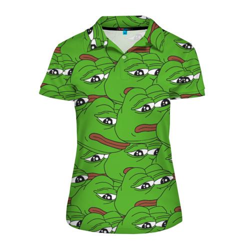 Женская рубашка поло 3D Sad frogs