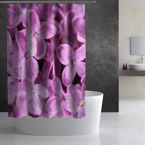 Штора 3D для ванной Цветы сирени Фото 01